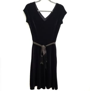 Dress Black Velvet V Neck fit & flare SZ S